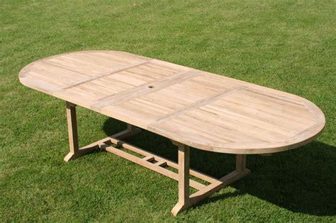 oval extending teak garden dining table parasol hole