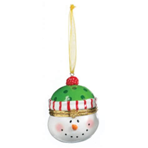 2 75 quot snowman with green hat hinged box ornament