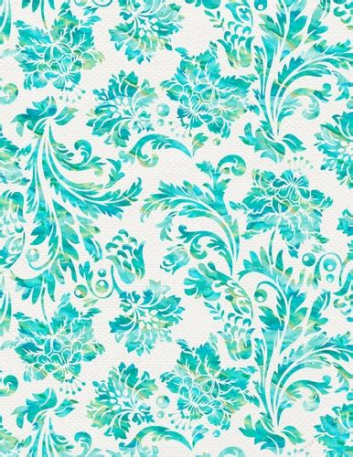 Ocean Blue Watercolor Damask Floral Design A4 Size