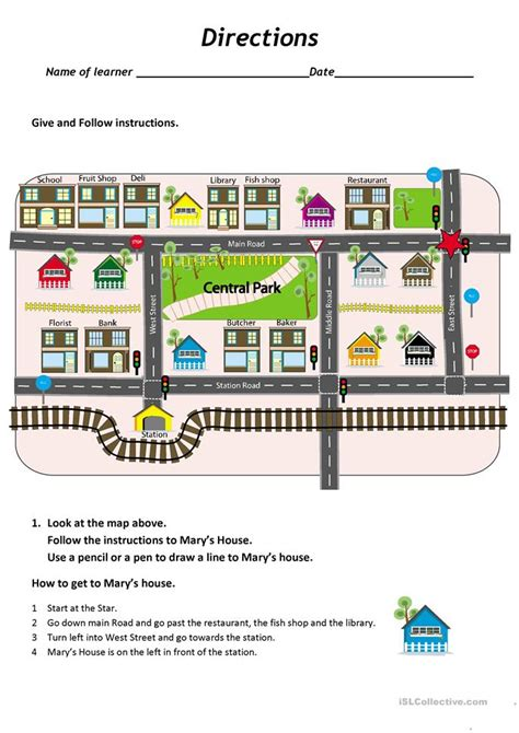 Give And Follow Directions On A Map Worksheet  Free Esl Printable Worksheets Made By Teachers