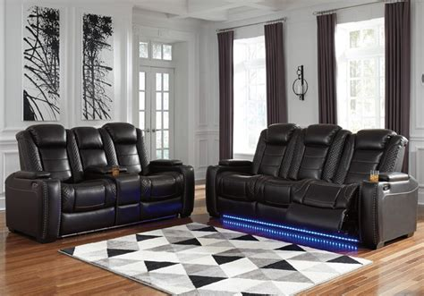 party time midnight power reclining sofa set  console