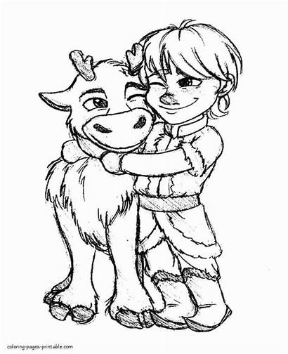 Frozen Sven Coloring Pages Printable Kristoff Anna