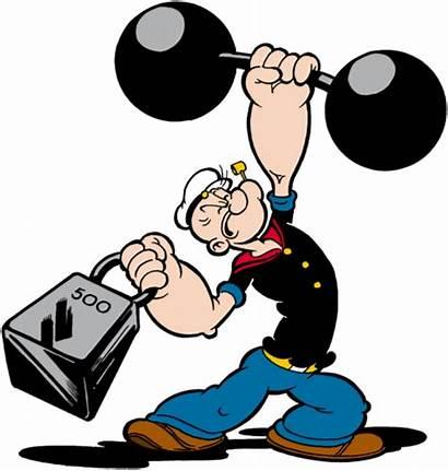 Popeye Lifting Weights Heavy Olive Sailor Cartoon