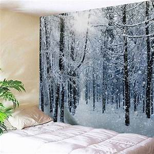 Grey white w inch l snow forest print tapestry