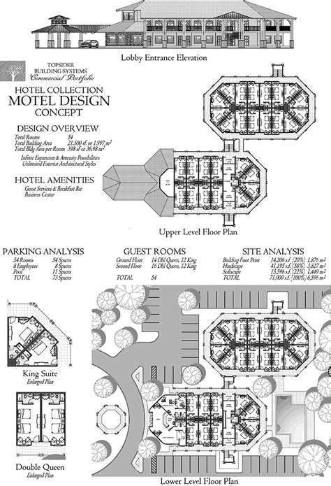 commercial design concept entry level motel  lobby guest rooms king suites
