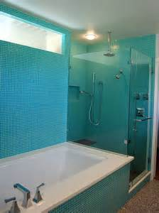seafoam green bathroom ideas turquoise glass tile bathroom contemporary with blue tile