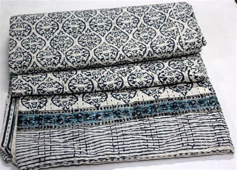 Indian Cotton Kantha Bed Cover Bedspread Hand Block Anokhi Print Quilt Throw 01 Blanket Made From Clothes Sunbeam Heated Velvet Plush Electric Where Can I Get A Picture Put On Muslin Blankets Aden Anais Bean Bag With Attached Sizes Of Baby Receiving Babies At Night Standard