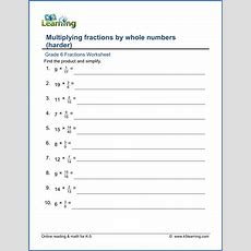 Grade 6 Fractions Worksheets Fractions Multiplied By Whole Numbers  K5 Learning