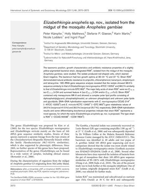 Microbiology Society Journals | Elizabethkingia anophelis
