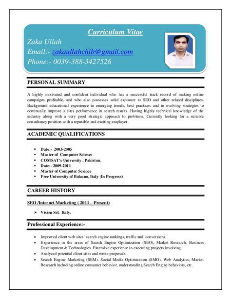 Curriculum Vitae Pakistani Cv Format Example Good Resume Template