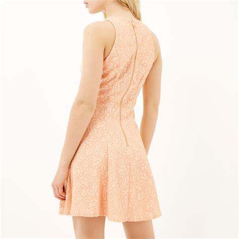 light pink lace dress river island light pink lace skater dress in pink lyst