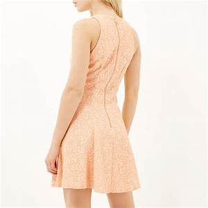 River island Light Pink Lace Skater Dress in Pink | Lyst