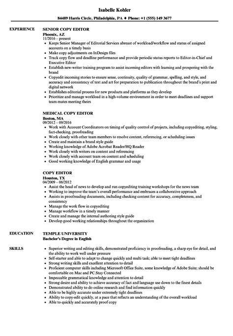 Copy Of Resume For by Copy Editor Resume Sles Velvet