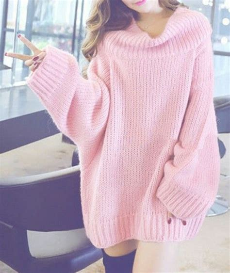 oversized pink sweater raglan sleeve color block high low sweater jumper girly
