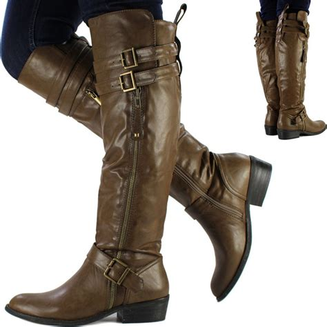 womens brown biker boots new womens ladies brown knee high leather style flat low