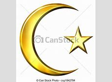 3d golden islamic symbol isolated in white drawing