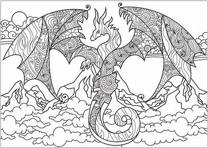 Dragon Mountains Coloring Dragons Pages Adult Abstract