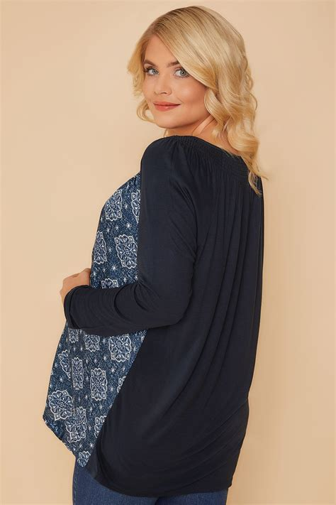 Bump It Up Maternity Navy Mandala Swing Top With Lace Up Neck, Plus Size 16 To 32