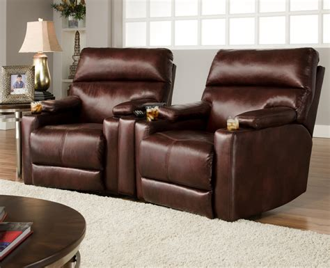 sofa with two recliners theater seating group with 2 lay flat recliners and cup