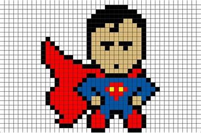 Pixel Superman Dessin Heros Brik Superhero Facile