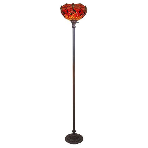 torchiere floor l home depot amora lighting 72 in tiffany style dragonfly torchiere