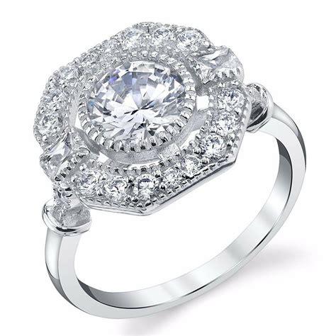 estate halo sterling cz engagement wedding ring platinum white vintage ebay