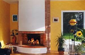 Peindre Des Briques De Cheminée : cheminee en brique a foyer ouvert ~ Farleysfitness.com Idées de Décoration