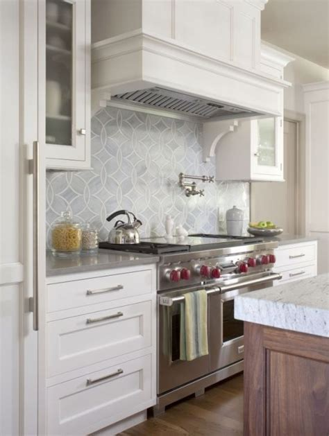 gray tile white cabinets wood islands with white marble