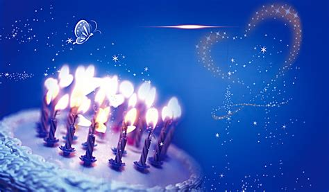 Winter Birthday Background by Birthday Cake Candles Balloons Blue Technology Background