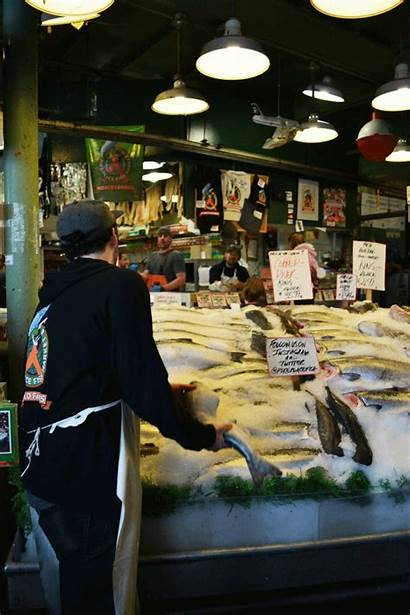 Market Place Pike Fish Throwing Into