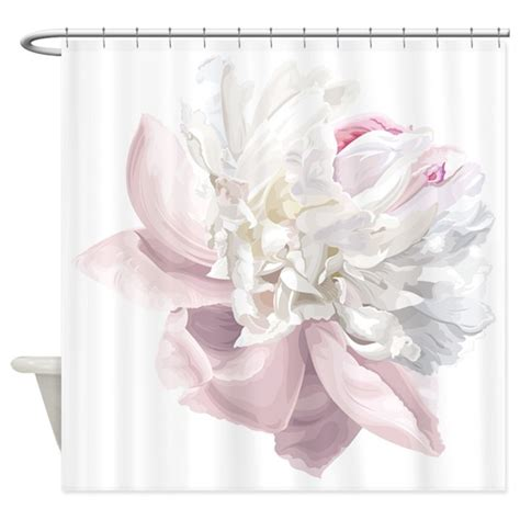 Elegant White Peony Shower Curtain By Bestshowercurtains