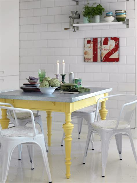 yellow kitchen table and colorful painted dining table inspiration