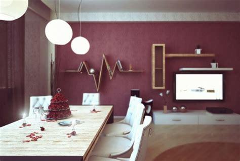 modernes esszimmer  lila farbgestaltung nach den