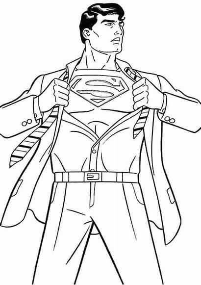 Coloring Superman Easy Superhero Printable Superheroes League