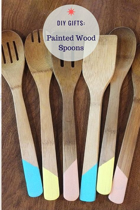 diy gifts paint dipped wooden cooking utensils