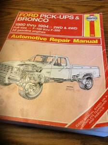 Find Haynes Auto Repair Manual Ford Pickup Bronco 1980