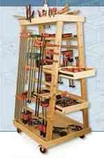 pipe clamp storage rack woodworking plans  information