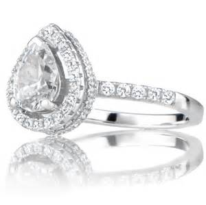 pear halo engagement ring halo ring pear cz halo ring