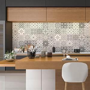 Carreaux Adhesif Salle De Bain : 24 stickers carreaux de ciment nuances de gris gythio salle de bain et wc salle de bain ~ Melissatoandfro.com Idées de Décoration