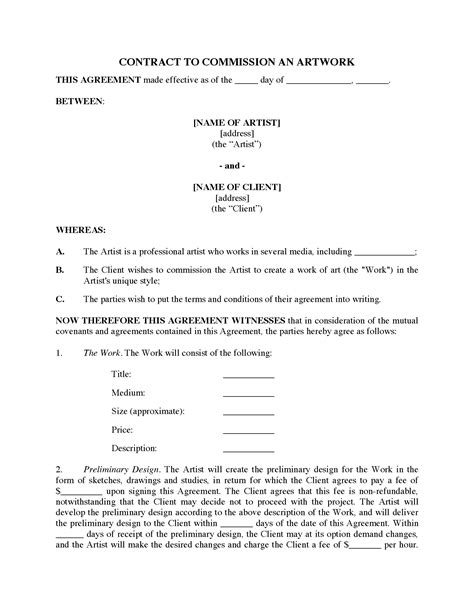 Commission Agreement Template Australia by Commission Contract For Original Art Legal Forms And