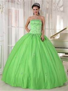 y Lime Green Appliques Quince Dress Strapless with