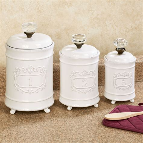 circa white ceramic kitchen canister set