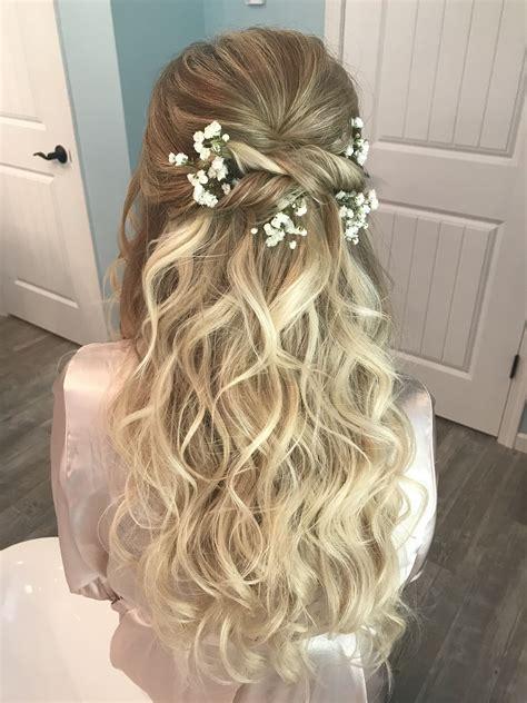 Romantic wedding hair all down baby s breath Romantic