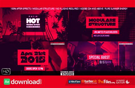 After Effects Template Eventes by Hot Music Event Videohive Project Free Download Free