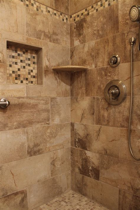 shower design  beige earth tone tile  mosaic