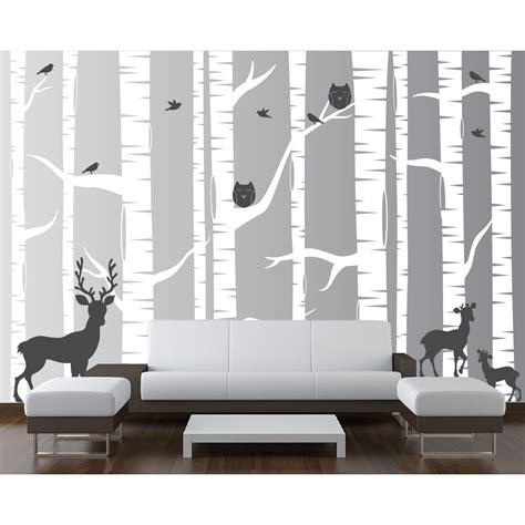 Innovative Stencils 22 Piece Birch Tree Wall Decal Set