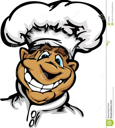 cuisine de a z chef chef de sourire de cuisine de dessin animé avec la