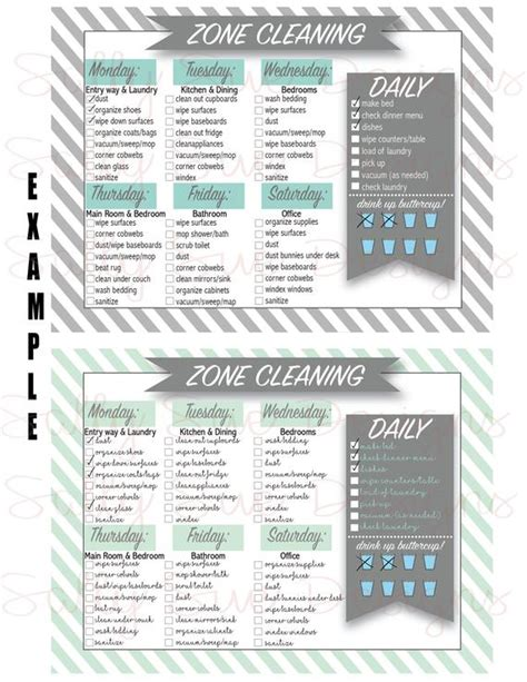 zone cleaning charts hydration lady chart tracker fly flylady 5x7 water checklist diy editable printable chore husbands daily deep commandments