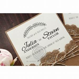 country style invitation with lace and twine pocket card With country house wedding invitations