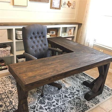 diy  shaped farmhouse wood desk office makeover hometalk